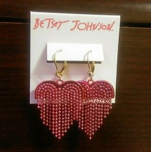 Betsey Johnson Chain Fringe Heart Drop Earrings